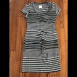 Nicole Miller Black/Gray Striped Dress w/ Rushing